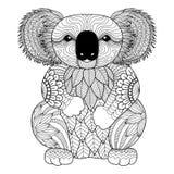 Teckningszentanglekoala för att färga sidan, skjortadesigneffekt, logo, tatueringen och garnering Royaltyfri Foto