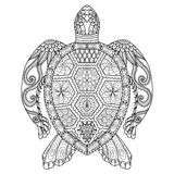 Teckningszentanglesköldpadda för att färga sidan, skjortadesigneffekt, logo, tatueringen och garnering