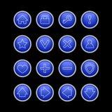 Tecla azul ajustada para o Web Fotografia de Stock Royalty Free