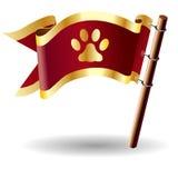 Tecla da bandeira do vetor com ícone da cópia da pata Imagem de Stock Royalty Free