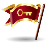 Tecla da bandeira do vetor com ícone da chave de esqueleto Imagem de Stock Royalty Free