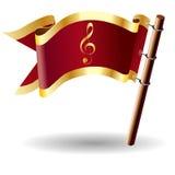 Tecla da bandeira do vetor com ícone do clef de triplo Imagens de Stock