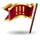 Tecla da bandeira do vetor com ícone do ponto de exclamação Imagem de Stock