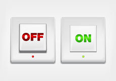 Tecla DE LIGAR/DESLIGAR vermelha e verde Imagens de Stock