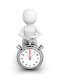 tecla de partida del empuje de la persona blanca 3d en el cronómetro Imagen de archivo libre de regalías