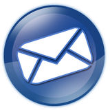 Tecla de vidro azul do email Imagens de Stock