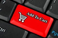 Tecla do ícone do carro de compra Fotografia de Stock