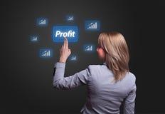 Tecla do lucro da pressão de mão da mulher Imagens de Stock Royalty Free