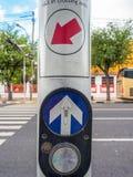 Tecla do sinal de cruzamento Fotografia de Stock