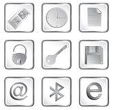 Tecla do Web do quadrado branco do vetor Imagens de Stock Royalty Free