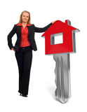 Tecla HOME - casa - mujer de negocios Imágenes de archivo libres de regalías