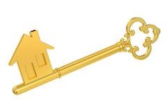 Tecla HOME de oro con la silueta de la casa, representación 3D Fotos de archivo libres de regalías