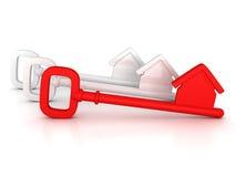 Tecla HOME roja con la silueta de la casa Foto de archivo