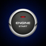 Tecla 'Iniciar Cópias' realística do motor no fundo escuro Foto de Stock