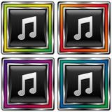 Tecla quadrada do vetor ajustada com o ico da nota da música Imagem de Stock