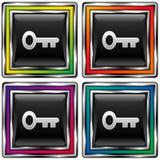 Tecla quadrada do vetor com ícone da chave de esqueleto Imagem de Stock Royalty Free