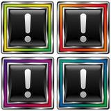 Tecla quadrada do vetor com ícone do ponto de exclamação Imagem de Stock Royalty Free