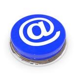 Tecla redonda azul com sinal do EMAIL. Foto de Stock Royalty Free