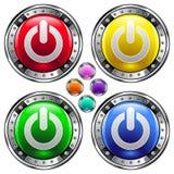 Tecla redonda do vetor com ícone da potência do computador Fotografia de Stock Royalty Free