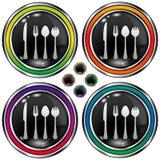 Tecla redonda do vetor com ícone dos utensílios Foto de Stock