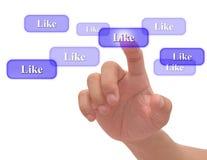 Tecla social da rede da pressão de mão Imagens de Stock Royalty Free