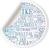 Tecla social dos media - etiqueta da etiqueta ilustração do vetor