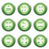 Tecla verde do playback Fotos de Stock
