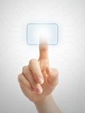 Tecla virtual da pressão de mão Foto de Stock Royalty Free