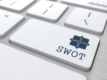 Teclado branco com botão do SWOT. Imagem de Stock Royalty Free
