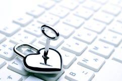 Teclado chave Heart-shaped fotografia de stock