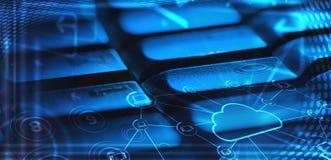 Teclado com ícones de incandescência da tecnologia da nuvem Foto de Stock