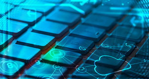 Teclado com ícones de incandescência da tecnologia da nuvem Imagens de Stock