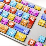Teclado com ícones do App em chaves Foto de Stock