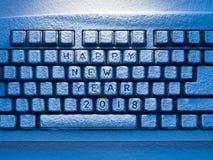 Teclado com ano novo feliz 2018 da inscrição Imagens de Stock