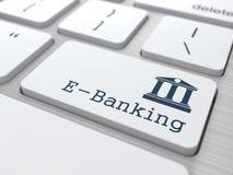 Teclado com botão da E-operação bancária. Imagens de Stock