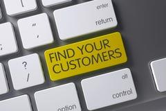 Teclado com chave amarela - encontre seus clientes 3d Imagens de Stock
