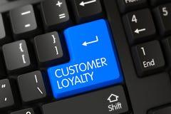 Teclado com chave azul - lealdade do cliente 3d Foto de Stock