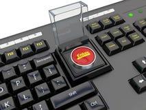Teclado com começo de botão de pressão Imagens de Stock