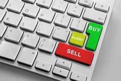 Teclado com os botões de troca finencial Fotos de Stock Royalty Free