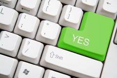 Teclado com a tecla verde do YES Imagem de Stock