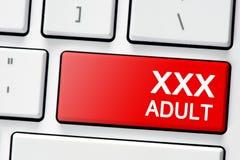 Teclado con adulto del botón xxx Fotos de archivo