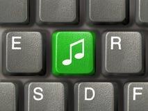 Teclado con clave de la música foto de archivo