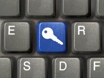 Teclado con clave de la seguridad Imágenes de archivo libres de regalías