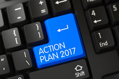 Teclado con el botón azul - plan de actuación 2017 3d Fotografía de archivo libre de regalías