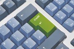 Teclado con el botón del crédito Fotografía de archivo