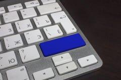 Teclado con el botón puro del color azul Imagen de archivo libre de regalías