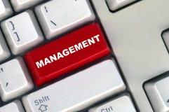 Teclado con el botón rojo de la gerencia imagen de archivo libre de regalías