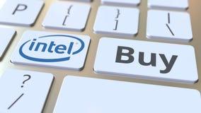 Teclado con el logotipo de la compañía de INTEL y texto de la compra en las llaves Representación conceptual editorial 3D stock de ilustración