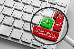 Teclado con los botones y la lupa en línea rojos y verdes del tema de las compras Fotografía de archivo