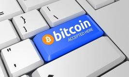 Teclado de Bitcoin Sinal de Bitcoin 3d rendem foto de stock royalty free